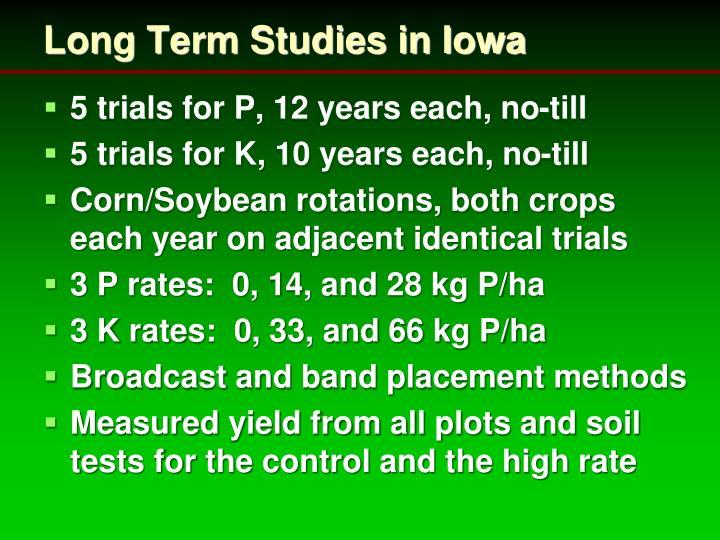 Long Term Studies in Iowa