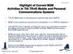 highlight of current m2m activities in tia tr 45 mobile and personal communications systems