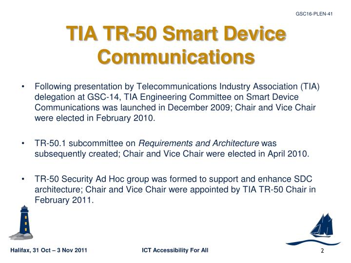 Tia tr 50 smart device communications
