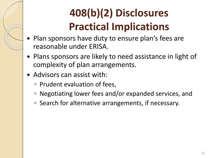 408(b)(2) Disclosures