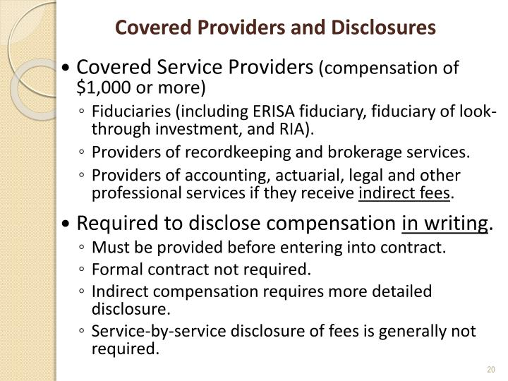 Covered Providers and Disclosures