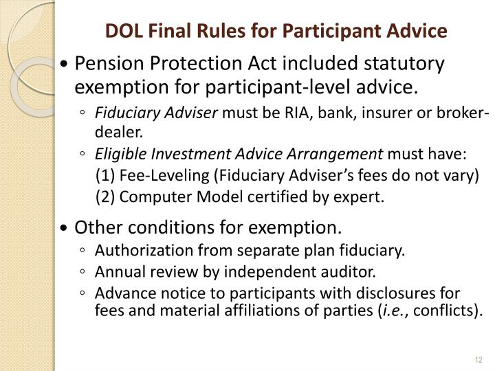 DOL Final Rules for Participant Advice