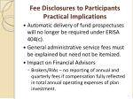 fee disclosures to participants practical implications