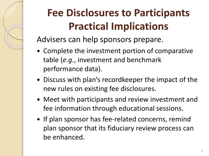 Fee Disclosures to Participants