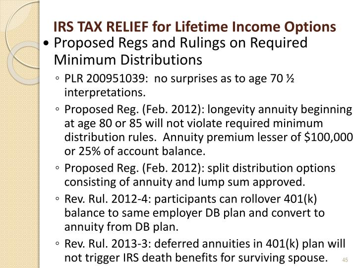 IRS TAX RELIEF for Lifetime Income Options