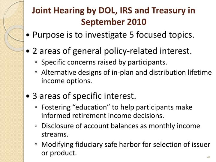 Joint Hearing by DOL, IRS and Treasury in September 2010
