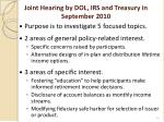 joint hearing by dol irs and treasury in september 2010