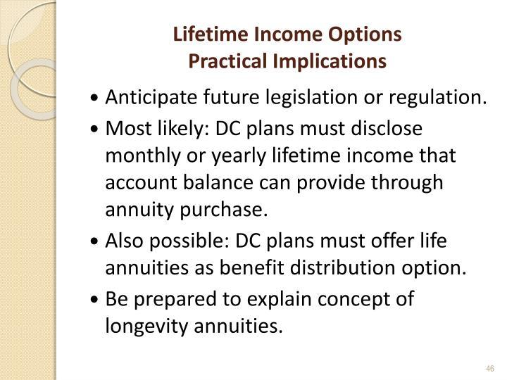 Lifetime Income Options