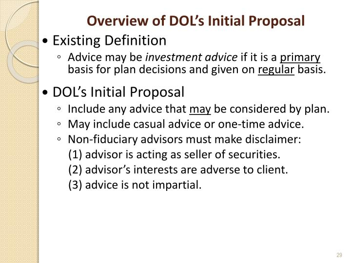 Overview of DOL's Initial Proposal