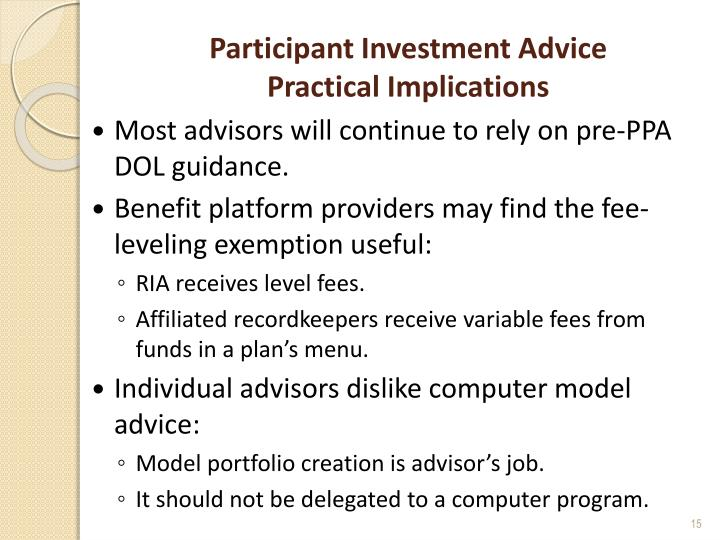 Participant Investment Advice