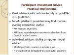 participant investment advice practical implications