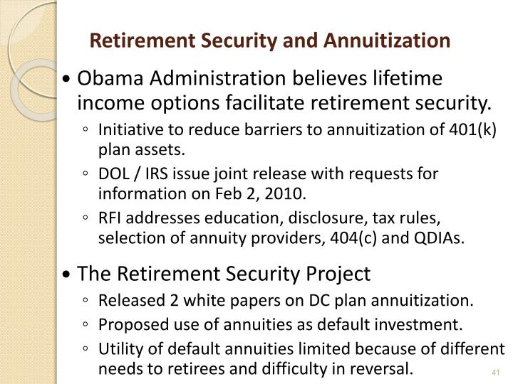 Retirement Security and Annuitization