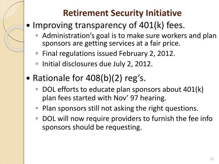Retirement Security Initiative