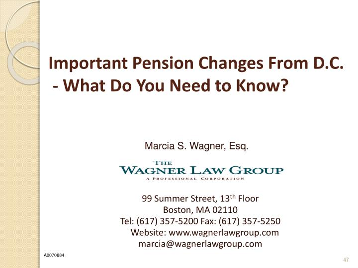 Important Pension Changes From D.C.