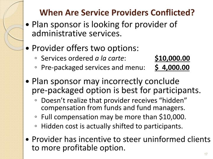 When Are Service Providers Conflicted?