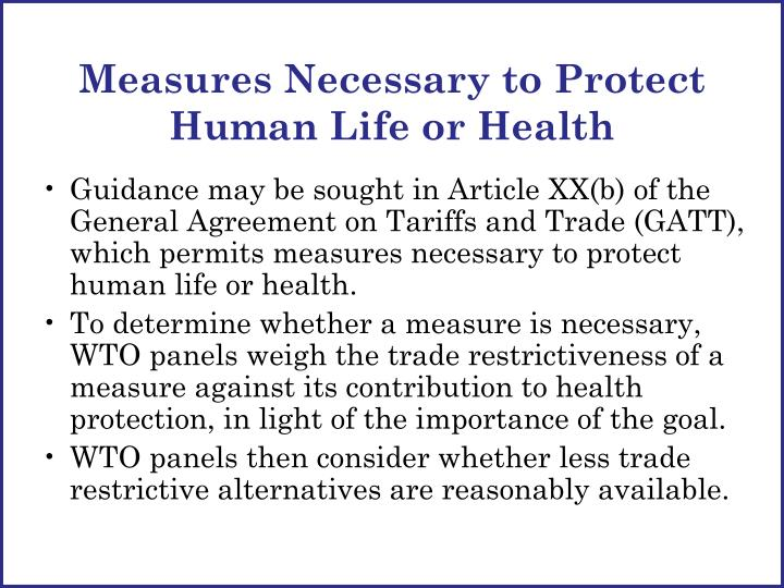 Measures Necessary to Protect Human Life or Health