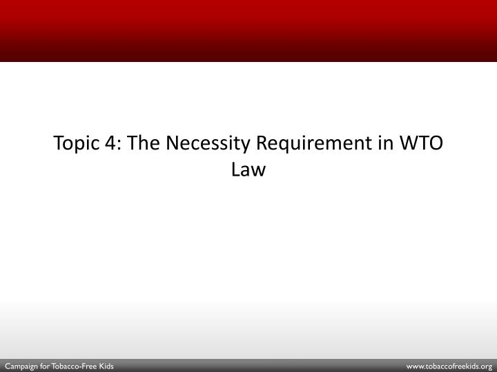Topic 4: The Necessity Requirement in WTO Law