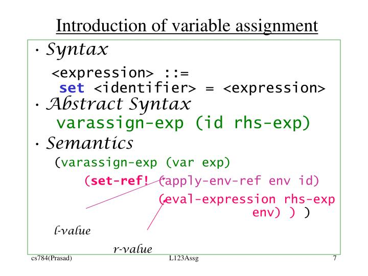 Introduction of variable assignment