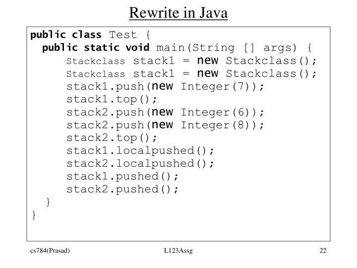 Rewrite in Java