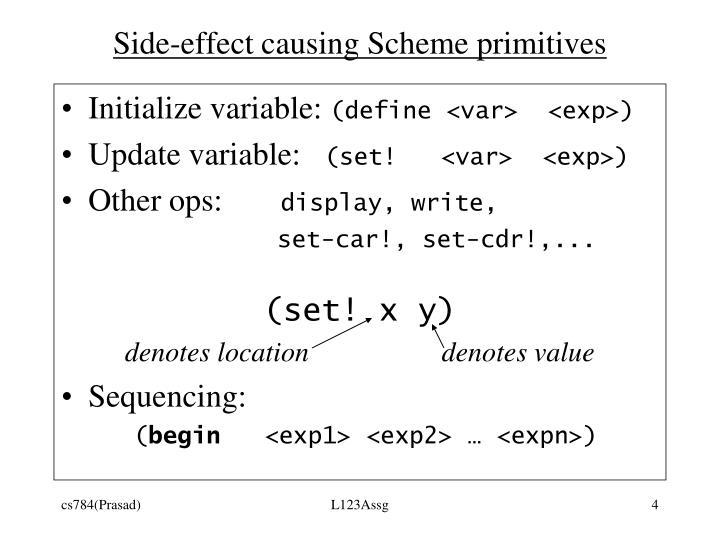 Side-effect causing Scheme primitives