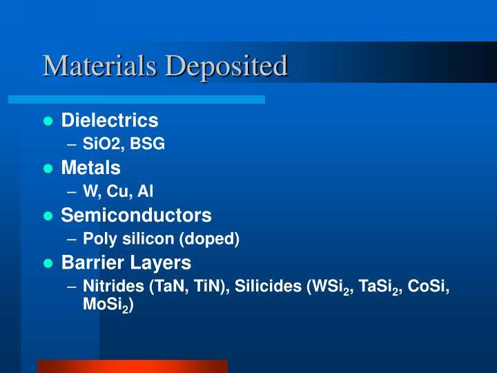 Materials Deposited