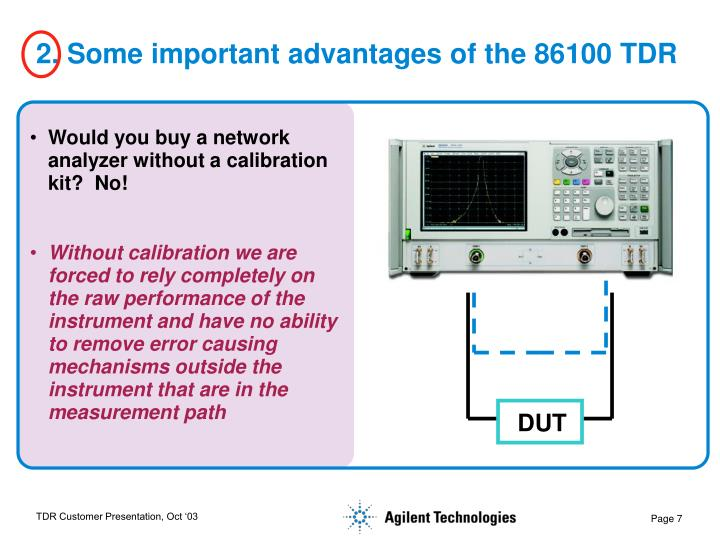 2. Some important advantages of the 86100 TDR