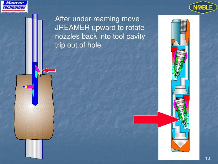 After under-reaming move JREAMER upward to rotate nozzles back into tool cavity trip out of hole
