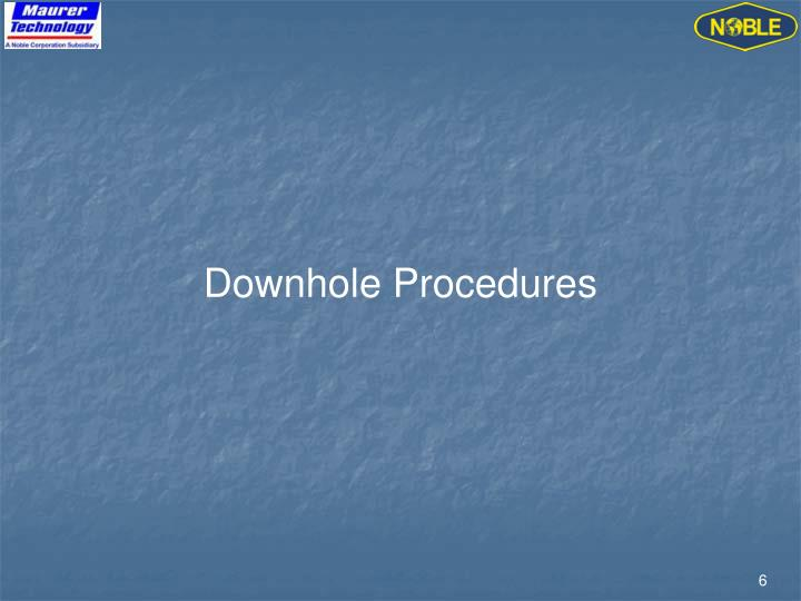 Downhole Procedures