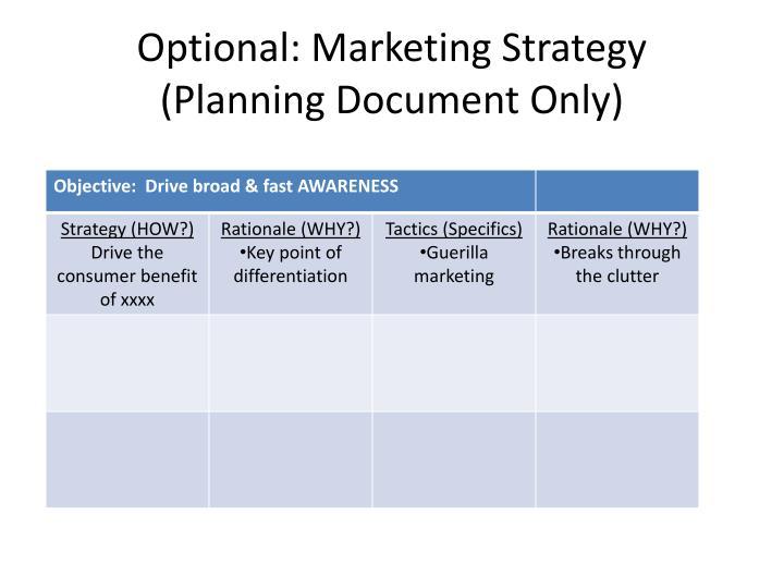 Optional: Marketing Strategy