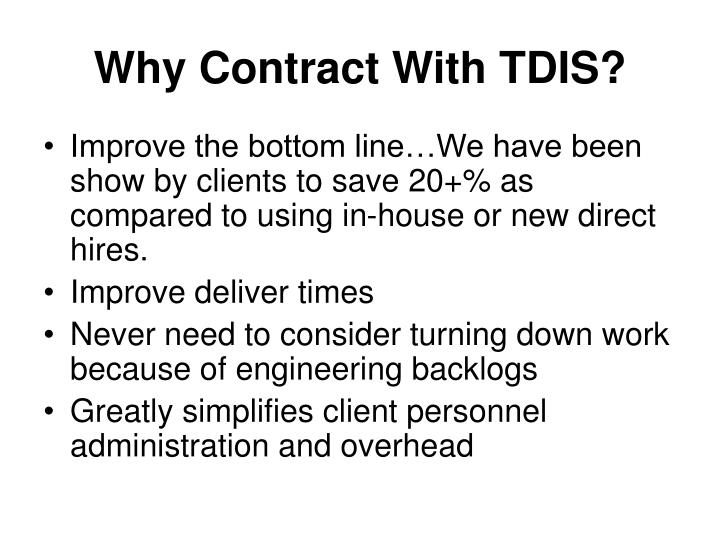 Why Contract With TDIS?