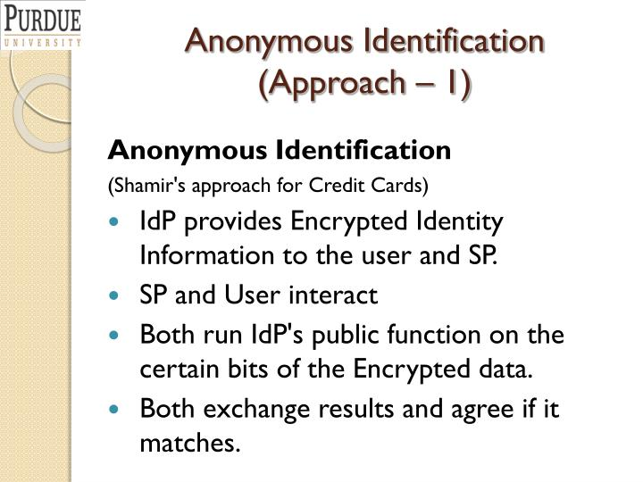 Anonymous Identification (Approach – 1)