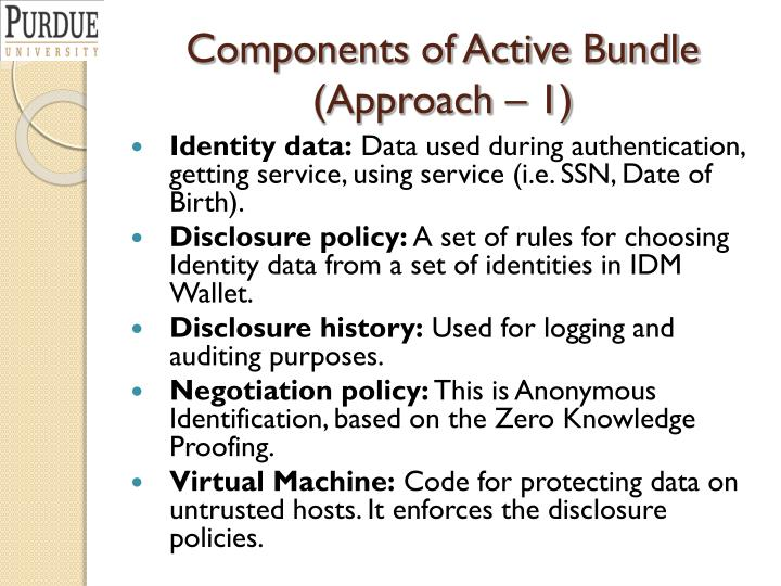 Components of Active Bundle (Approach – 1)