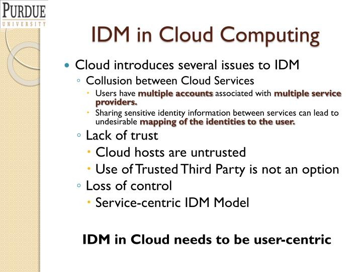 IDM in Cloud Computing