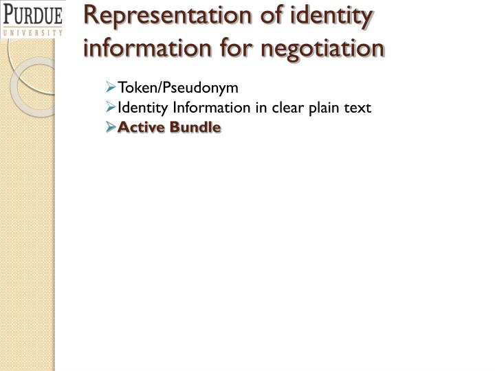 Representation of identity information for negotiation