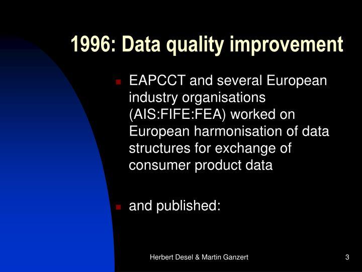 1996: Data quality improvement