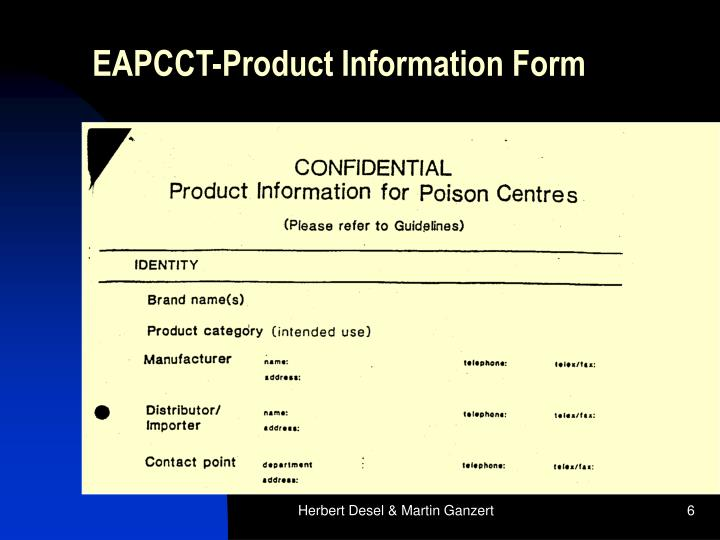 EAPCCT-Product Information Form