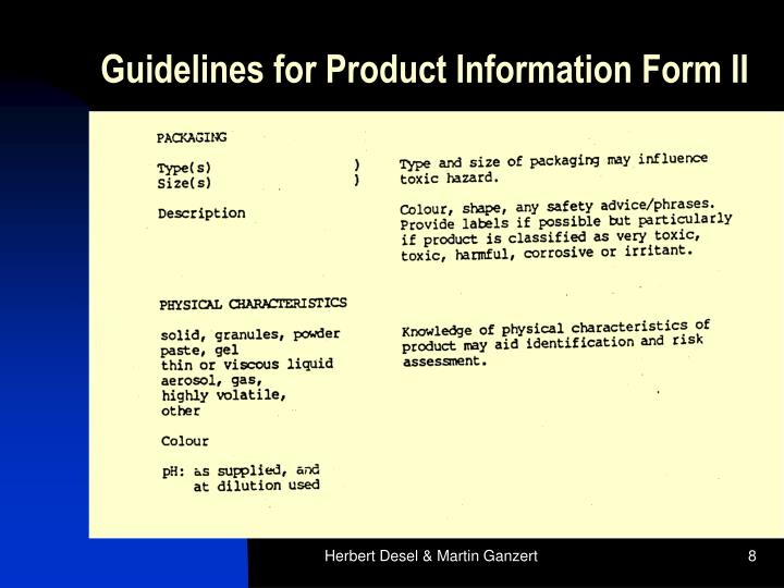 Guidelines for Product Information Form II