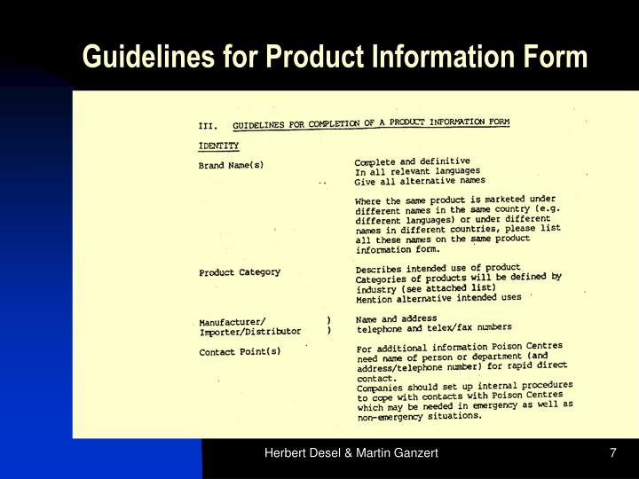 Guidelines for Product Information Form