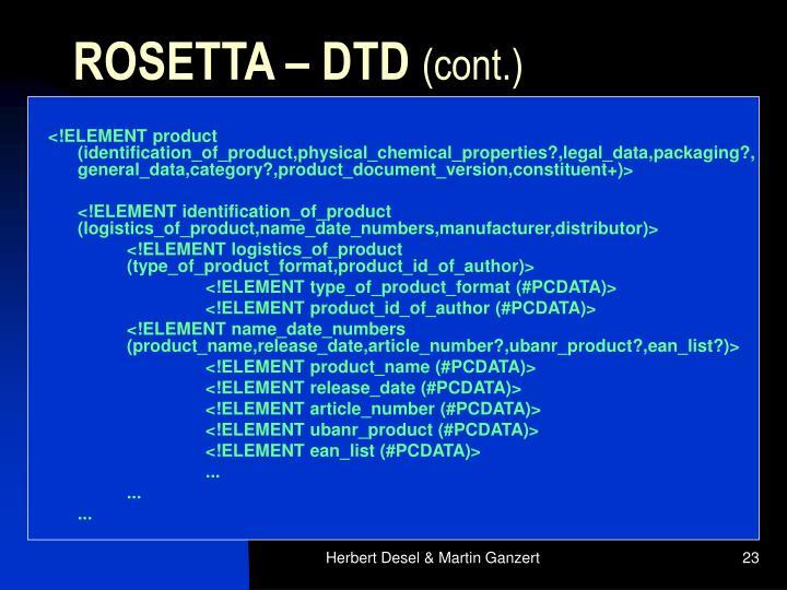ROSETTA – DTD