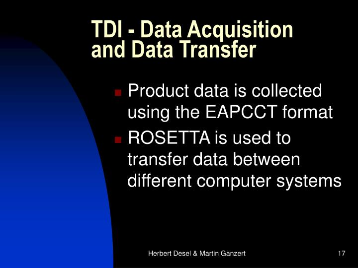 TDI - Data Acquisition and Data Transfer