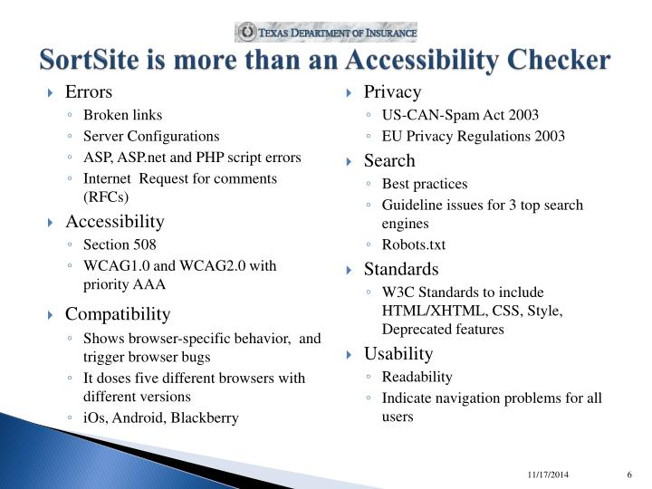SortSite is more than an Accessibility Checker