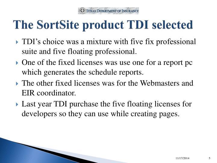 The SortSite product TDI