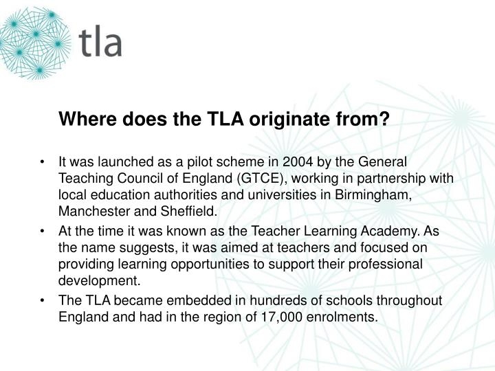 Where does the TLA originate from?