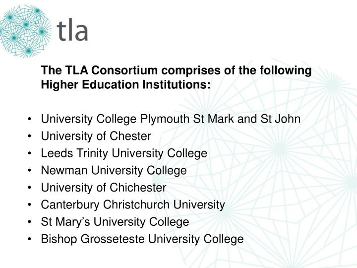 The TLA Consortium comprises of the following Higher Education Institutions: