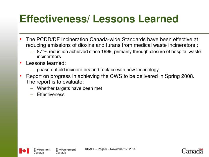 Effectiveness/ Lessons Learned