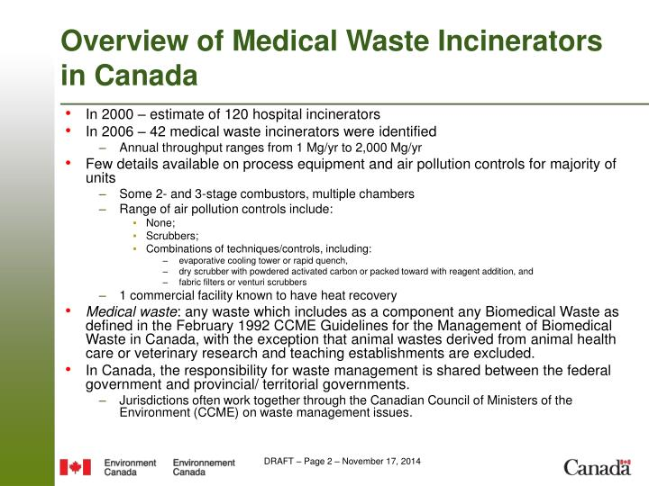 Overview of Medical Waste Incinerators in Canada