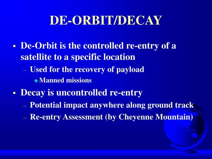 DE-ORBIT/DECAY