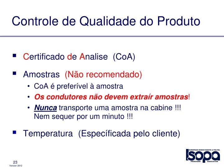 Controle de Qualidade do Produto