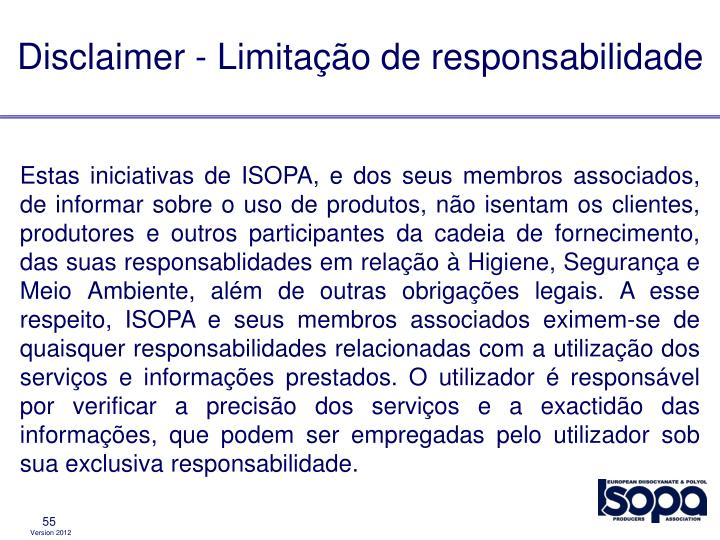 Disclaimer - Limitação de responsabilidade