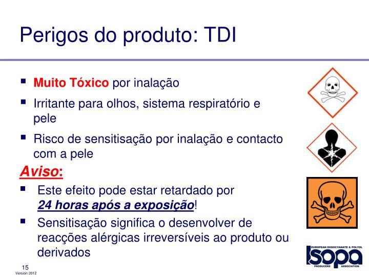 Perigos do produto: TDI